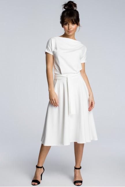 Sukienka midi z rozkloszowanym dołem - ecru