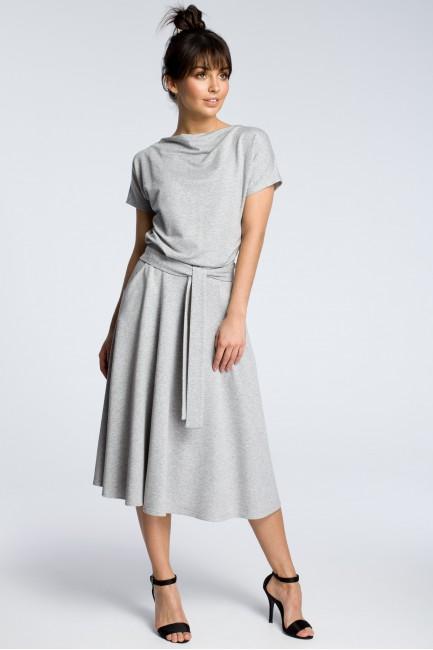 Sukienka midi z rozkloszowanym dołem - szara