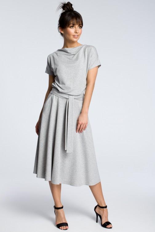 CM3604 Sukienka midi z rozkloszowanym dołem - szara