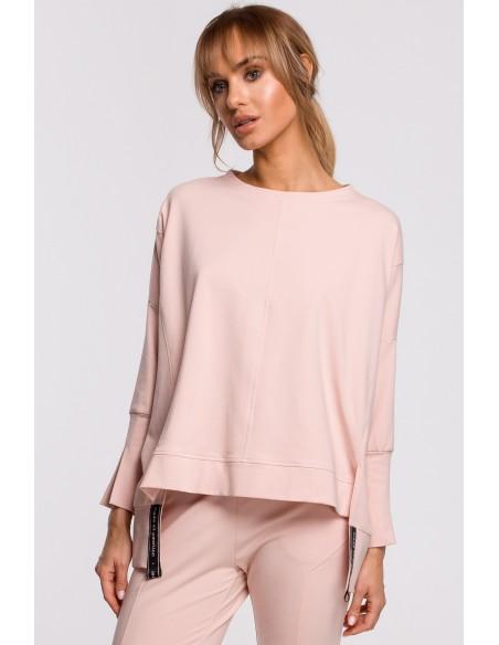 Bluza z rozcięciami na bokach i lampasem - cukierkowo-różowa