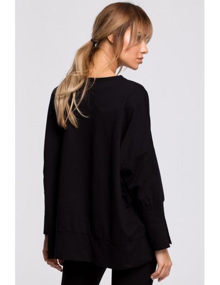 Bluza z rozcięciami na bokach i lampasem - czarna