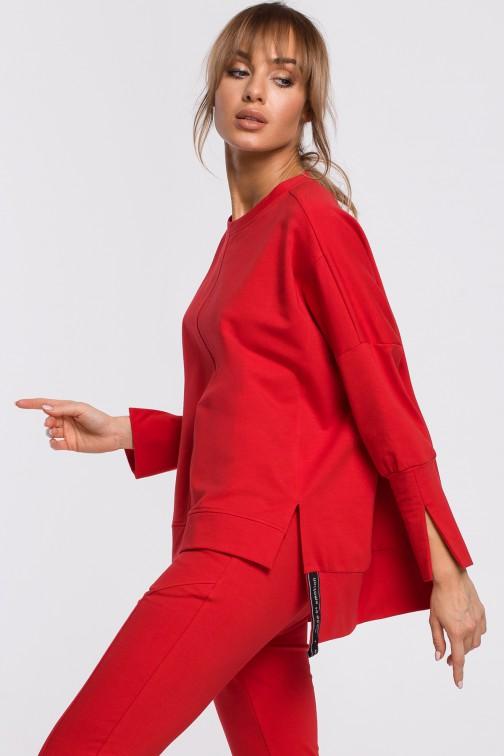 Bluza z rozcięciami na bokach i lampasem - czerwona