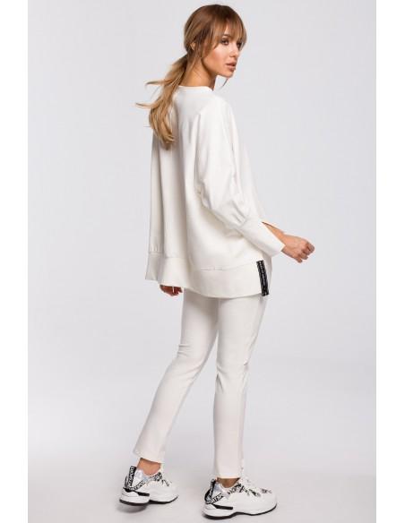 Bluza z rozcięciami na bokach i lampasem - ecru
