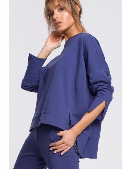 Bluza z rozcięciami na bokach i lampasem - indygo