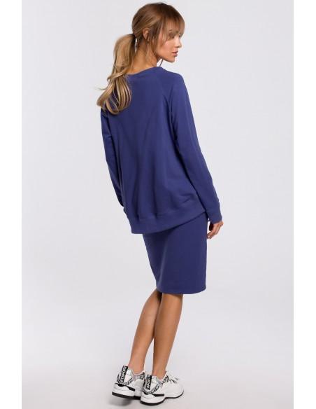 Bluza z klamerkami i lampasami - indygo