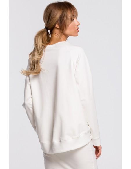Bluza z klamerkami i lampasami - ecru