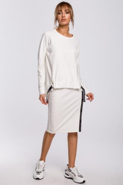Spódnica z rozcięciem i lampasem - ecru