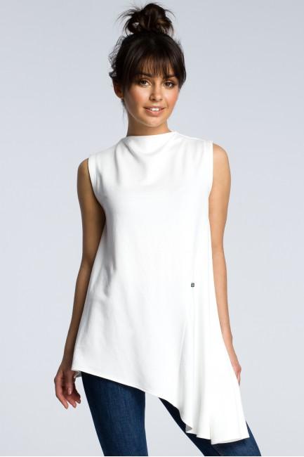 Asymetryczna bluzka bez rękawów - ecru
