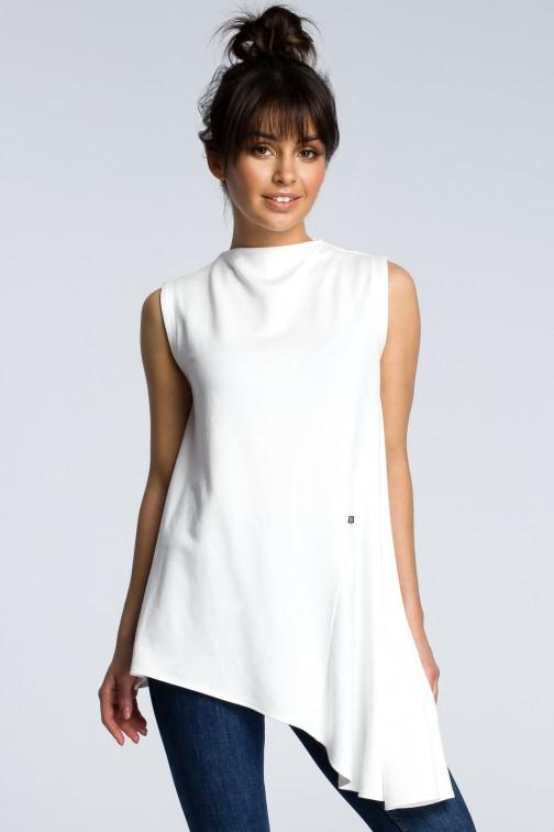 CM3606 Asymetryczna bluzka bez rękawów - ecru