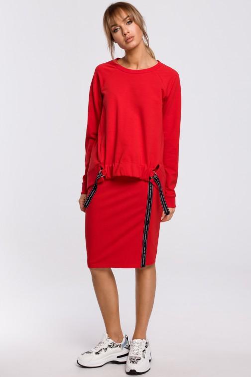 CM5201 Spódnica z rozcięciem i lampasem - czerwona