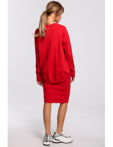Spódnica z rozcięciem i lampasem - czerwona