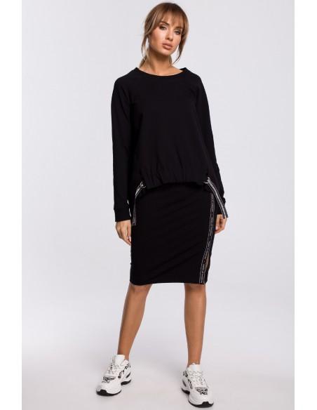 Spódnica z rozcięciem i lampasem - czarna
