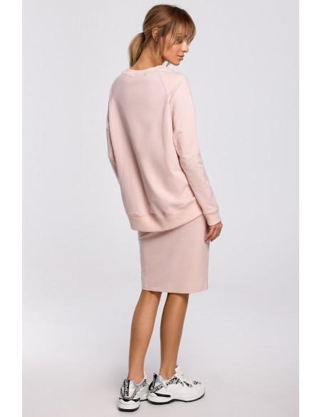 Spódnica z rozcięciem i lampasem - cukierkowo-różowa