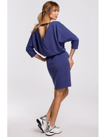 Sukienka mini z lampasem do regulacji tyłu - indygo