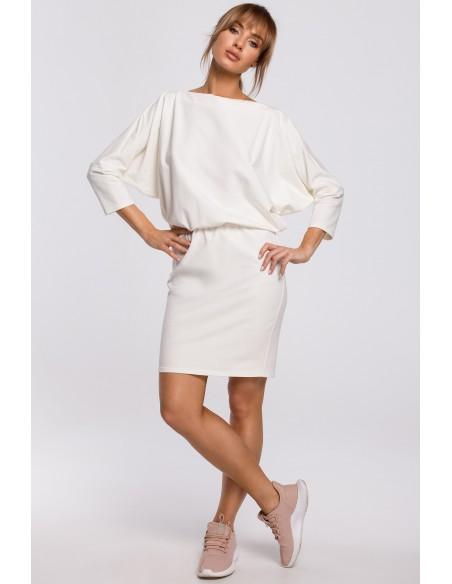Sukienka mini z lampasem do regulacji tyłu - ecru