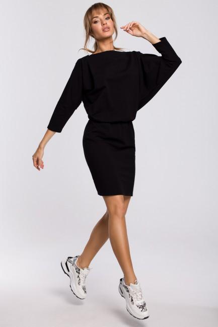 Sukienka mini z lampasem do regulacji tyłu - czarna