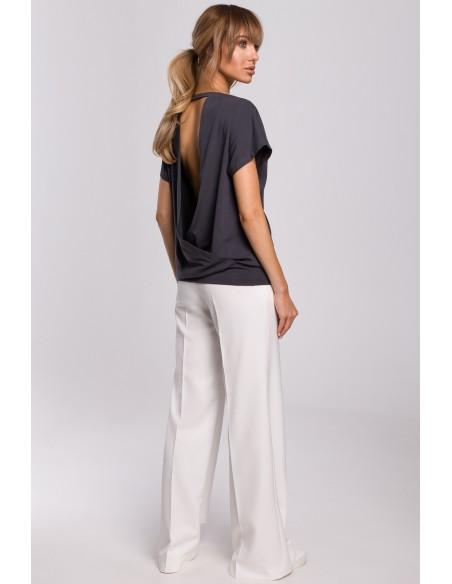 Bluzka z krótkimi rękawami i zakładką z tyłu - stalowa