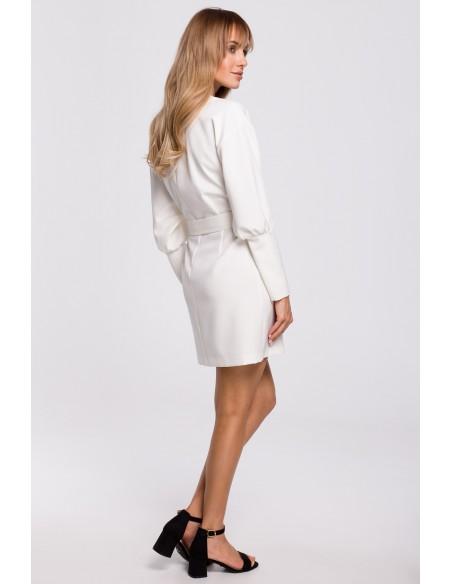Sukienka z bufiastymi rękawami i paskiem - ecru
