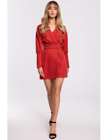 Sukienka z bufiastymi rękawami i paskiem - czerwona