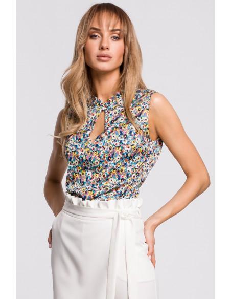 Bluzka bez rękawów w kwiatuszki - model 2