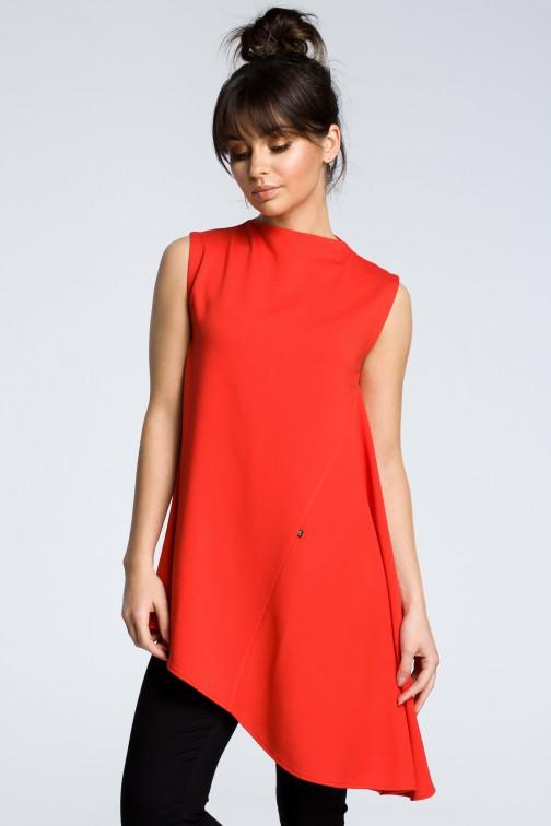 CM3606 Asymetryczna bluzka bez rękawów - czerwona