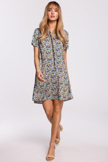 Zwiewna sukienka w kwiaty z falbanką - model 2