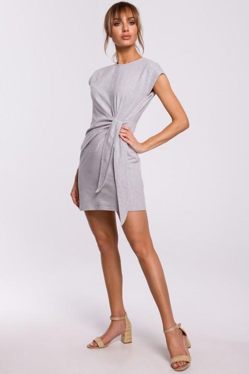 CM5215 Sukienka z supłem na boku - szara