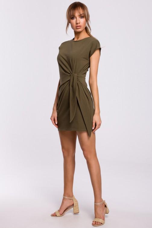 CM5215 Sukienka z supłem na boku - khaki