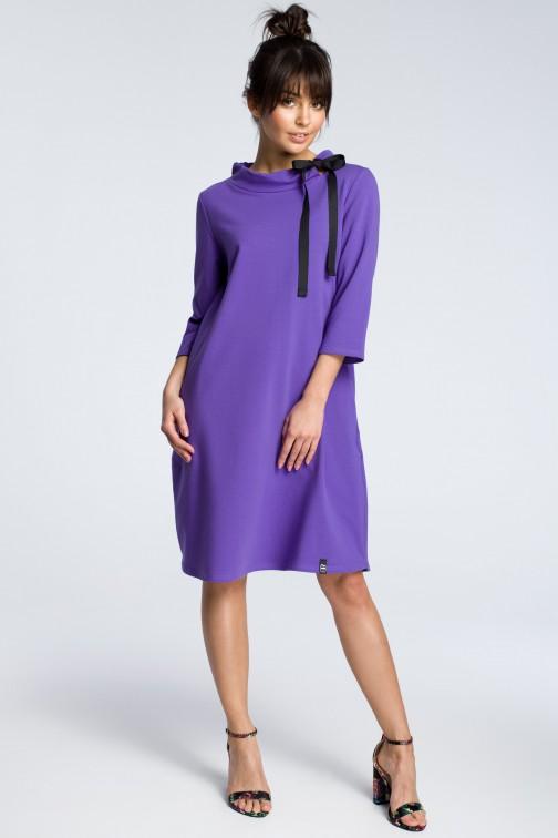 CM3607 Dresowa sukienka z wiązaniem pod szyją - fioletowa