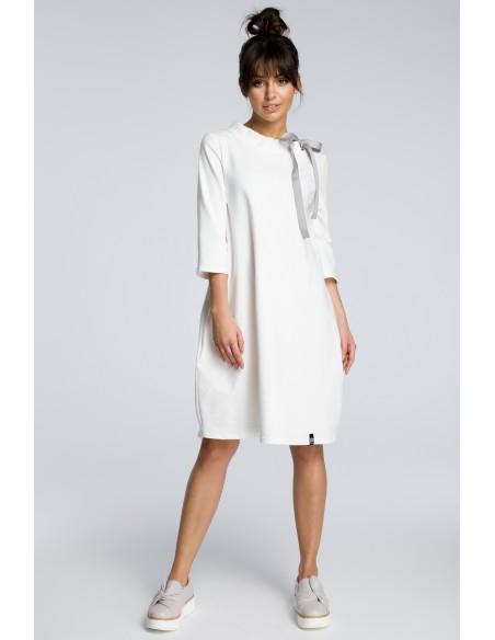 Dresowa sukienka z wiązaniem pod szyją - ecru
