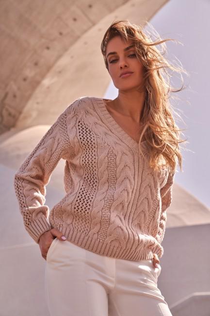 Ażurowy sweter z dekoltem w serek - pudrowy
