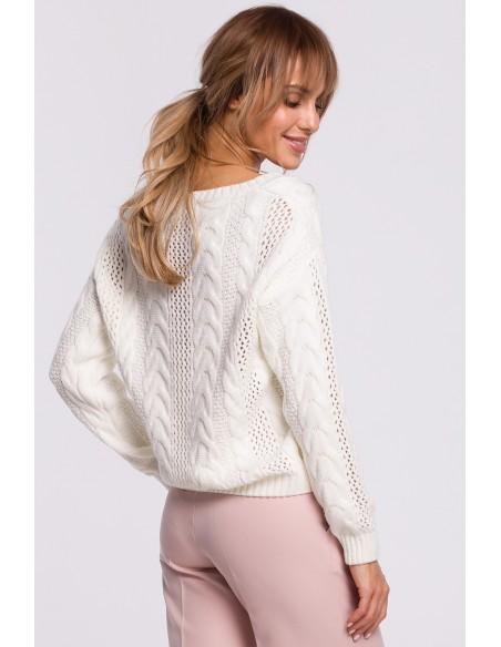 Ażurowy sweter z dekoltem w serek - ecru