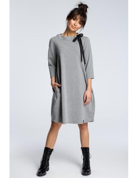 Dresowa sukienka z wiązaniem pod szyją - szara