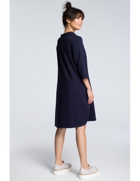 Dresowa sukienka z wiązaniem pod szyją - granatowa