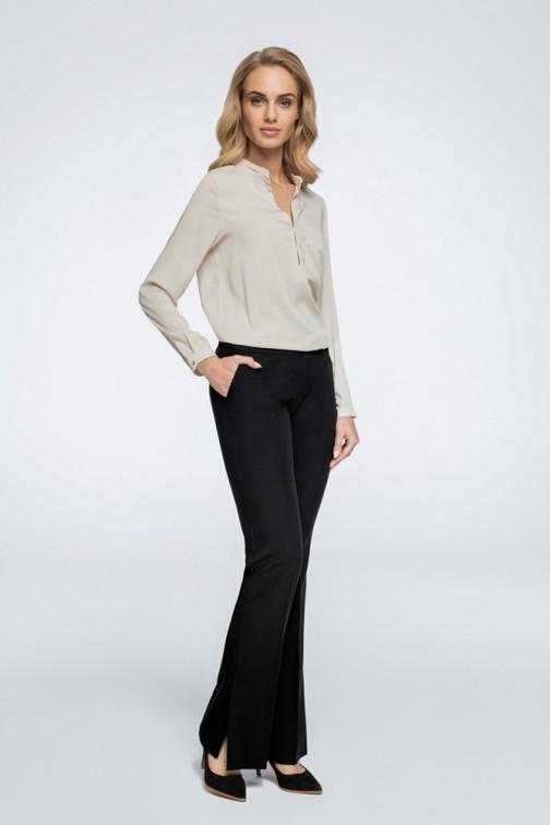 CM3066 Eleganckie spodnie z rozcięciami na nogawce - czarne