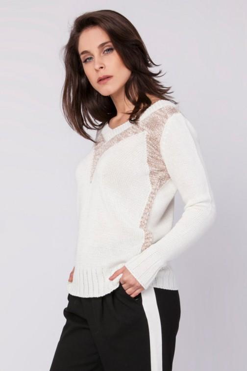 CM3521 Elegancki sweter z metalizowanej przędzy - ecru-beżowy