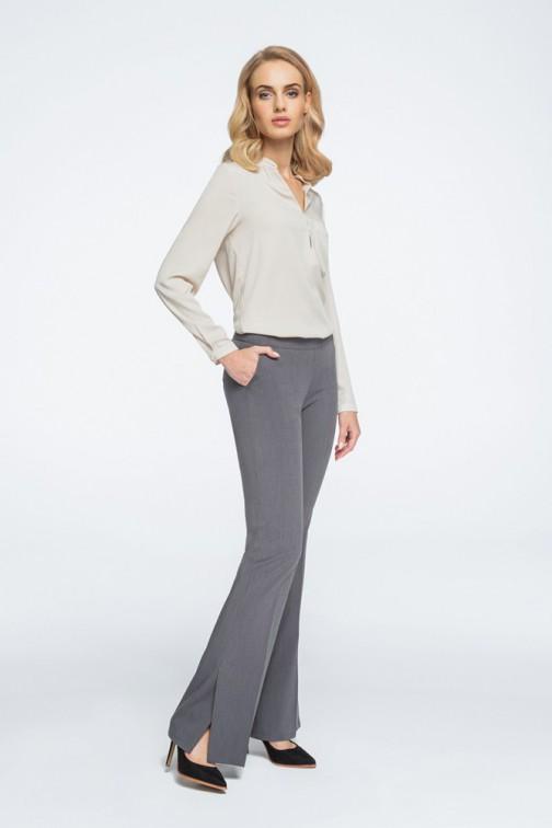 CM3066 Eleganckie spodnie z rozcięciami na nogawce - szare