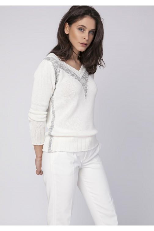 CM3521 Elegancki sweter z metalizowanej przędzy - ecru-szary