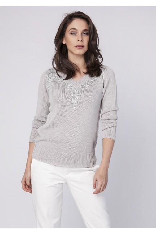 CM3521 Elegancki sweter z metalizowanej przędzy - szary