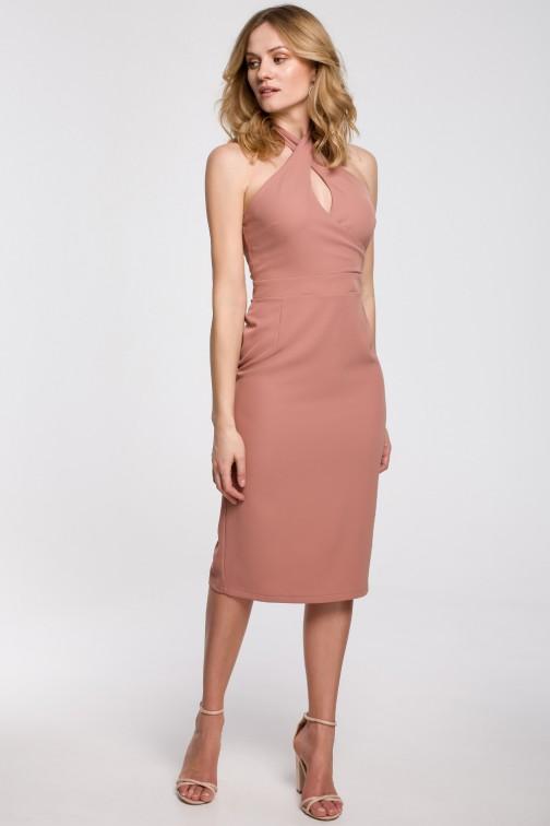 CM5233 Sukienka wiązana wokół szyi - różana