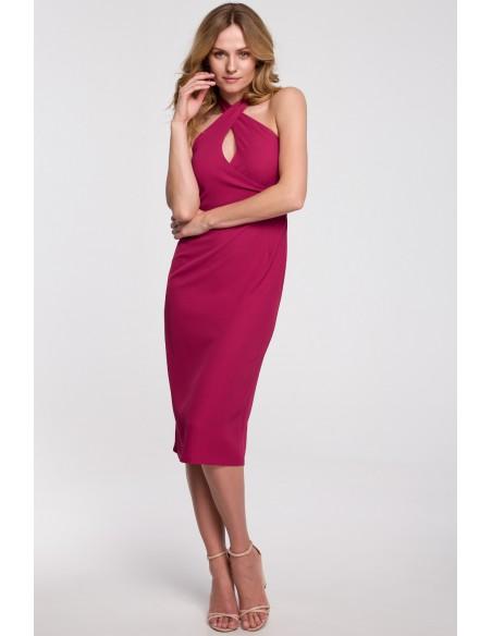 Sukienka wiązana wokół szyi - śliwkowa