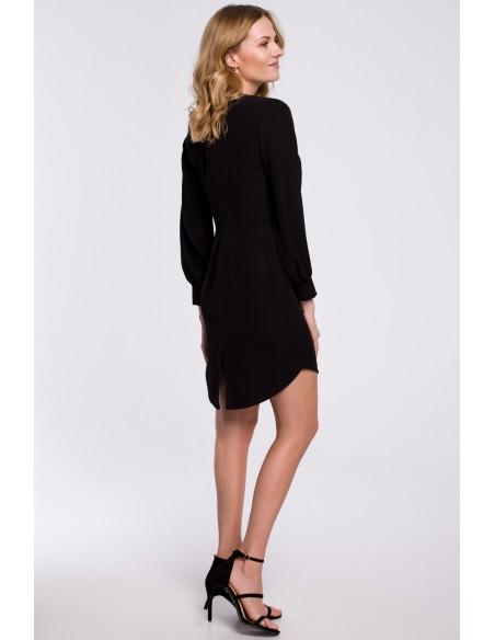 Sukienka z zakładkami i bufiastymi rękawami - czarna
