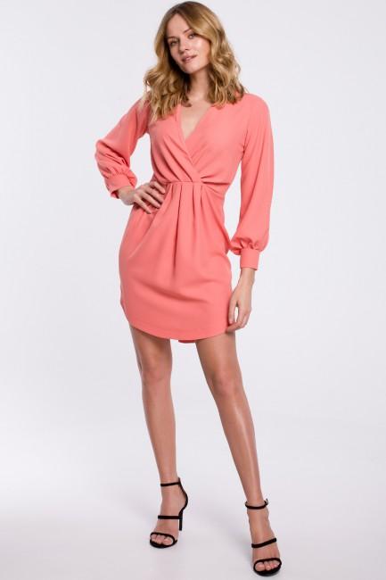 Sukienka z zakładkami i bufiastymi rękawami - pomarańczowa