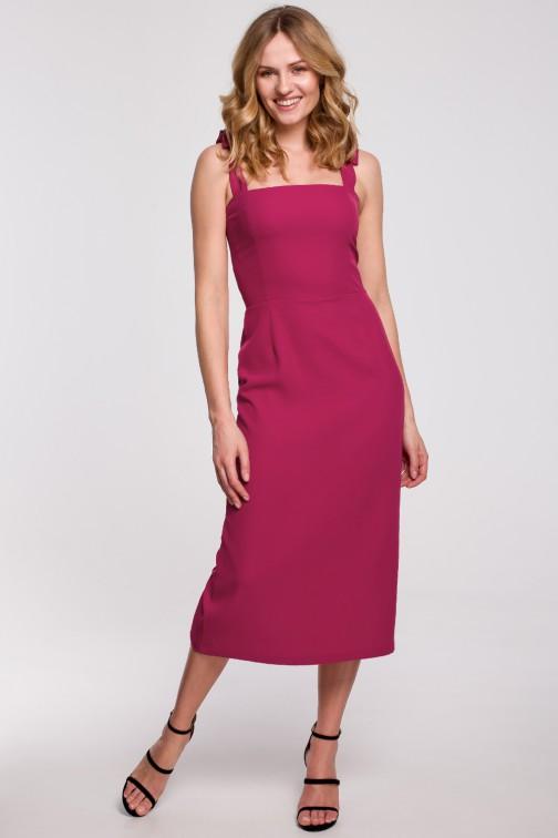 CM5236 Sukienka midi z wiązanymi ramiączkami - śliwkowa