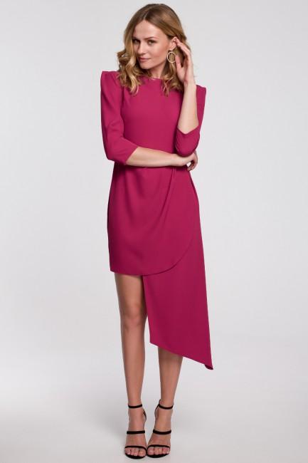 Sukienka z asymetrycznym dołem i zakładkami - śliwkowa