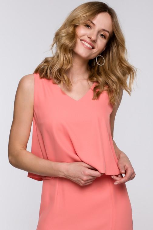 CM5238 Sukienka maxi z falbaną u góry - pomarańczowa