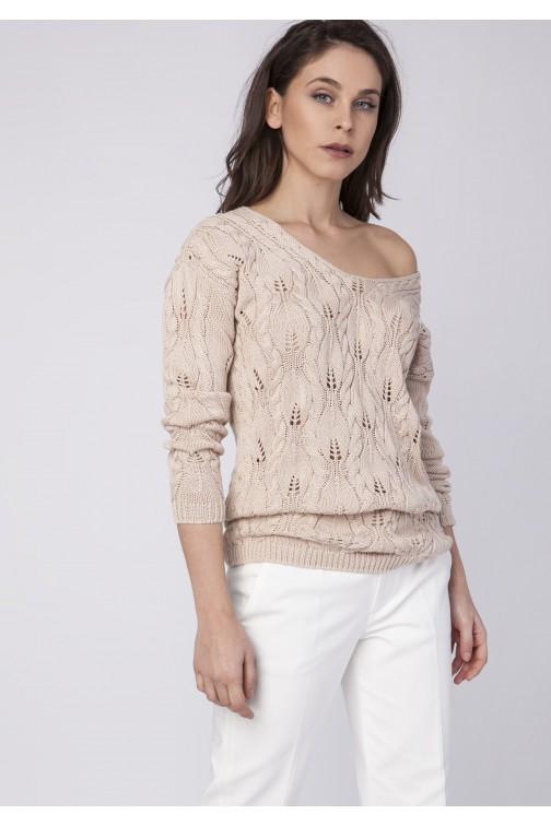 CM3523 Dzianinowa bluza z głębokim dekoltem - beżowa