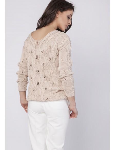 Dzianinowa bluza z głębokim dekoltem - beżowa