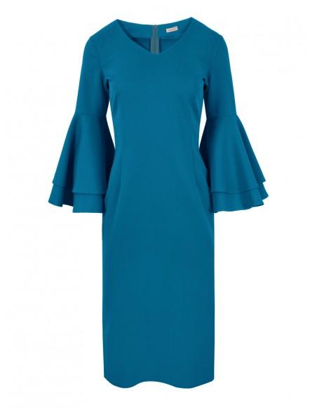 Sukienka z falbanami przy rękawach - morska