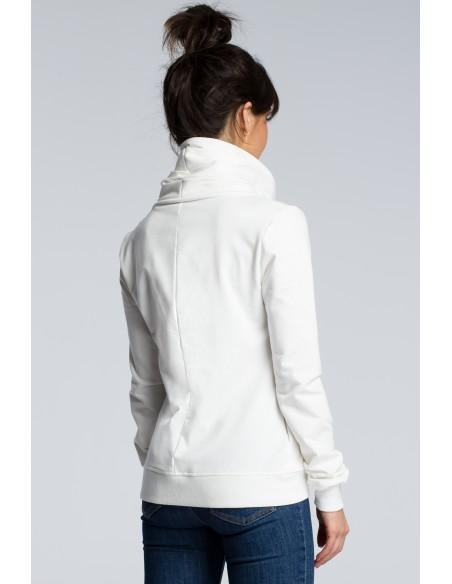 Bluza z ukośnym zamkiem - ecru